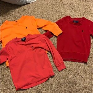 Polo sweater and long sleeved shirts